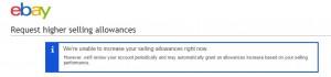 ebay リミット申請できない